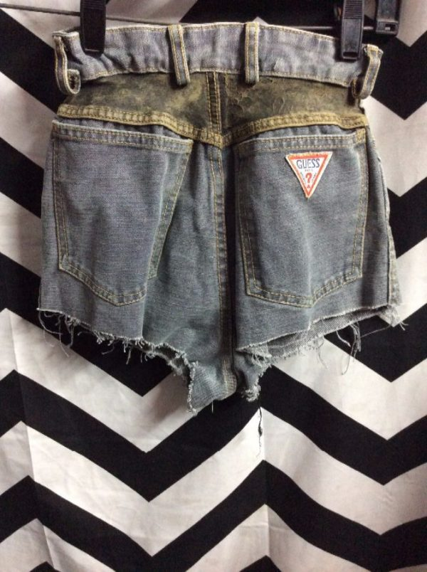 LITTLE GUESS JEANS CUT OFF SHORTS TWO TONES LEATHER TRIM 2