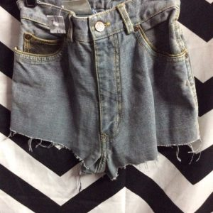 LITTLE GUESS JEANS CUT OFF SHORTS TWO TONES LEATHER TRIM 1