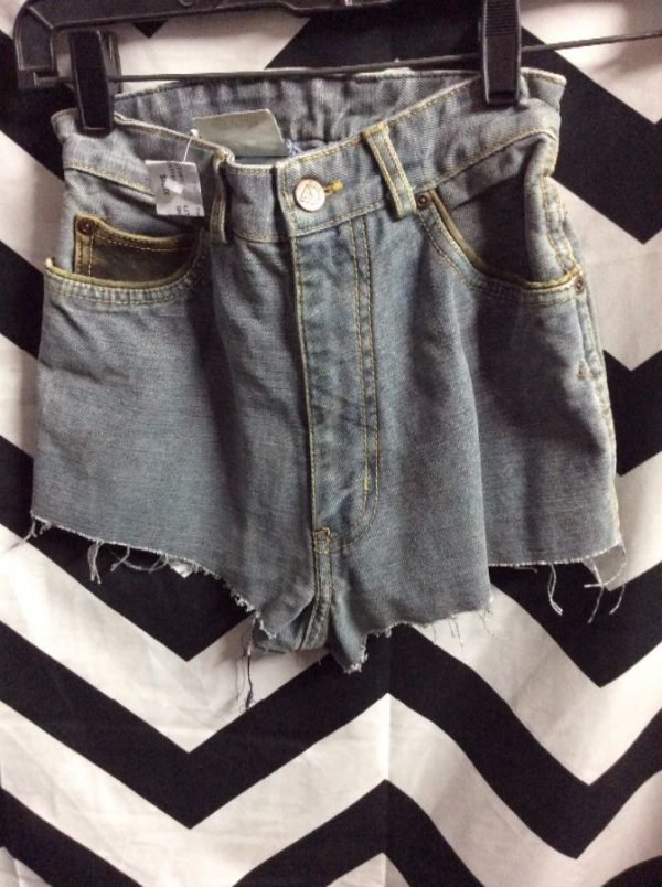 product details: GUESS DENIM JEAN SHORTS - CUT OFF - LEATHER TRIM - 2 TONED photo