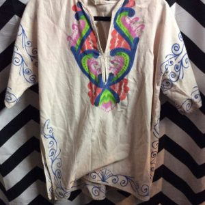 CANVAS TUNIC W/ PAINTED FLORAL PRINT 1