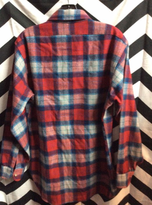 LS BD Plaid Pendleton Red, Grey, blue 2