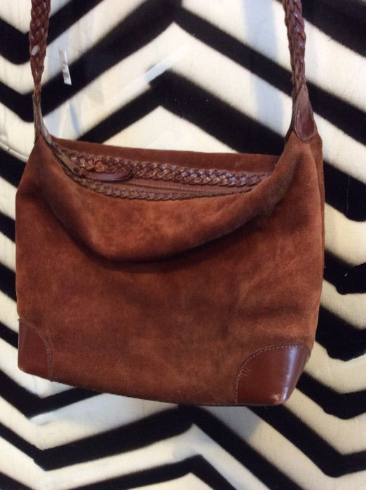 SUEDE & LEATHER PURSE BRAIDED STRAP 2