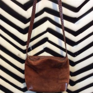 SUEDE & LEATHER PURSE BRAIDED STRAP 1