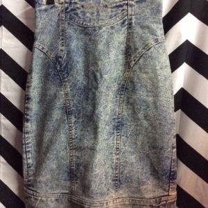 1980S HIGH WAISTED ACID WASH DENIM SKIRT EXTRA LONG ZIPPER 1