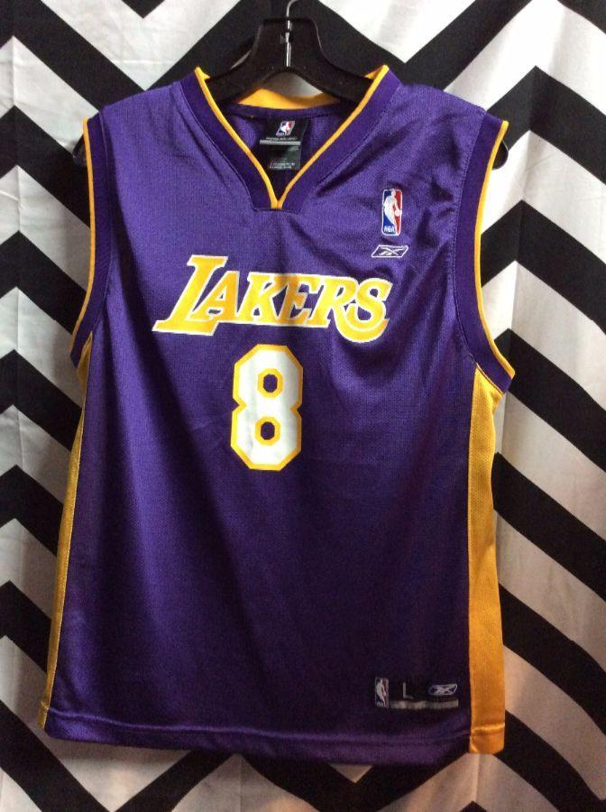 Reebok Basketball Jersey Lakers Kobe 8 Striped Side Design Boardwalk Vintage