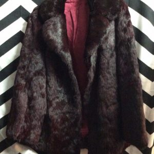 OXBLOOD RED FUR COAT ACETATE LINING GORGEOUS 1