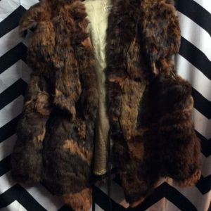 PATCHWORK RABBIT FUR VEST LEATHER RIBBON TIE #AMAZEBALLS 1
