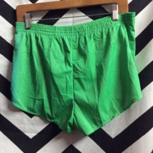 70'S RUNNING SHORTS GREEN THIN BLACK STRIPES 1