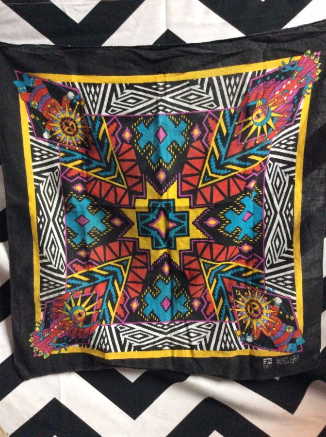 bandana scarf kachinas w native american design neon colors square