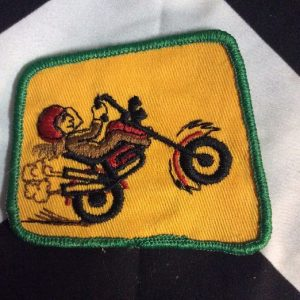 *Deadstock Motorcycle Rider 1970s Wheeley Yellow & Green Patch *old stock 1