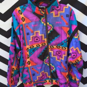 WINDBREAKER NYLON JACKET BRIGHT COLOR AZTEC PRINT 1