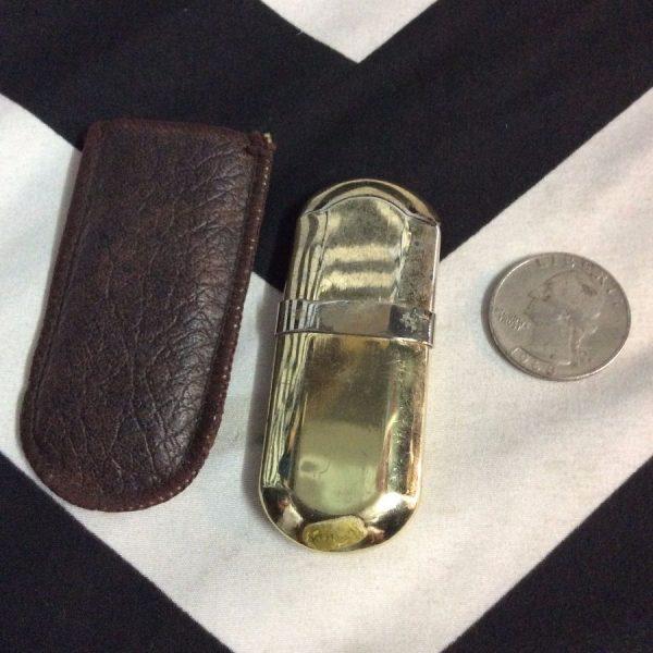 MARLBORO Brass Lighter w/ Brown Leather Holder 2