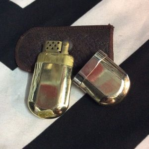 MARLBORO Brass Lighter w/ Brown Leather Holder 1