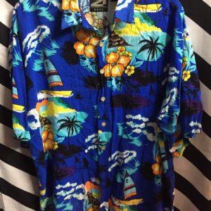 Tropical windsurfing pattern hawaiian shirt 1