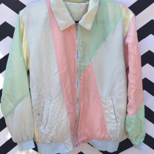 Windbreaker Jacket Silk Zip Up Pastel Color Block Design Boardwalk Vintage