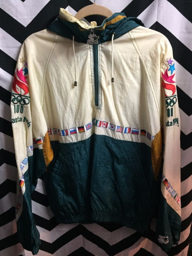 cheap price outlet boutique cheap for sale 1996 ATLANTA OLYMPIC PULLOVER WINDBREAKER ZIP-UP COLOR BLOCK W/WORLD FLAGS