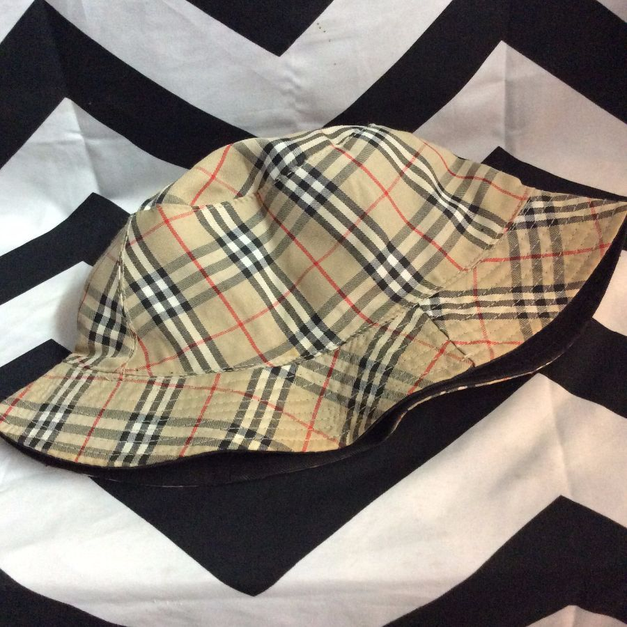 06817fa5238 PLAID BURBERRY STYLE BUCKET HAT » Boardwalk Vintage