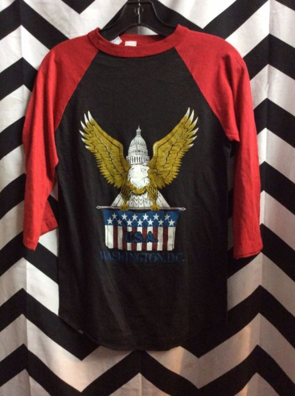 product details: BASEBALL TEE T-SHIRT W/SCREEN PRINTED WASHINGTON DC EAGLE DESIGN photo
