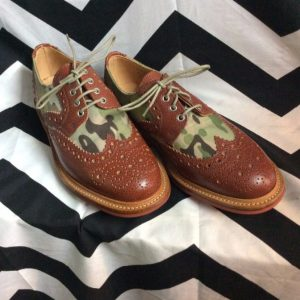 Shoes Oxfords Leather Army Print 1