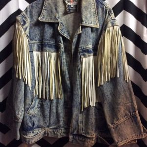 Custom Mickey Mini Mouse Fringe Acid Washed Denim Jacket *As Is 1