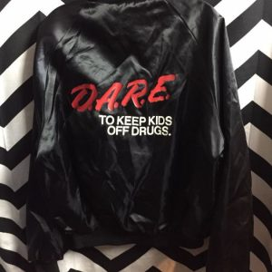 DARE Satin Zip-up jacket w/ Eightball patch on front #irony 2