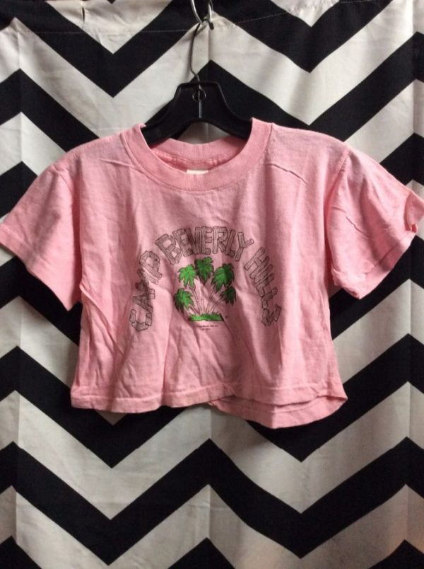 *deadstock 90s COTTON CROP TOP CAMP BEVERLY HILLS 1977 PINK 1