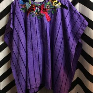 HEAVY PONCHO TOP STRIPED EMBROIDERED BIRDS 1