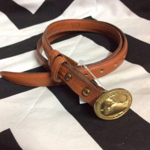 CLASSIC SUPER SKINNY SOFT LEATHER BELT SOLID BRASS BUCKLE DOONEY 1