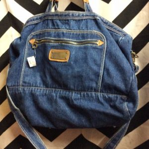 DENIM ZIP SHOULDER BAG MULTI POCKETS 1