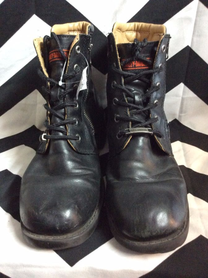 34310576a45 HARLEY DAVIDSON LEATHER LACE-UP BOOT W/SIDE ZIPPER