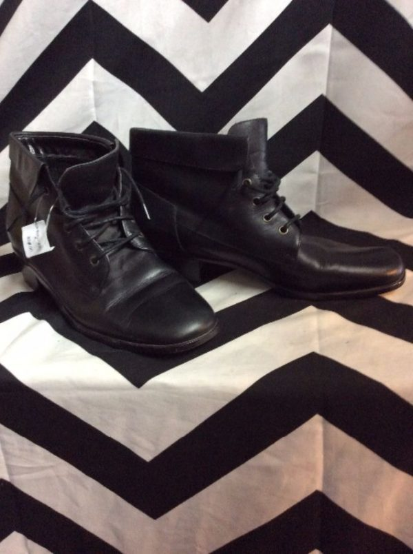 LITTLE LACE UP LEATHER BOOTIES BLOCK HEEL 4