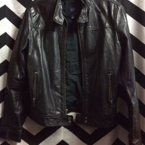 RETRO GAP BLACK LEATHER JACKET 1