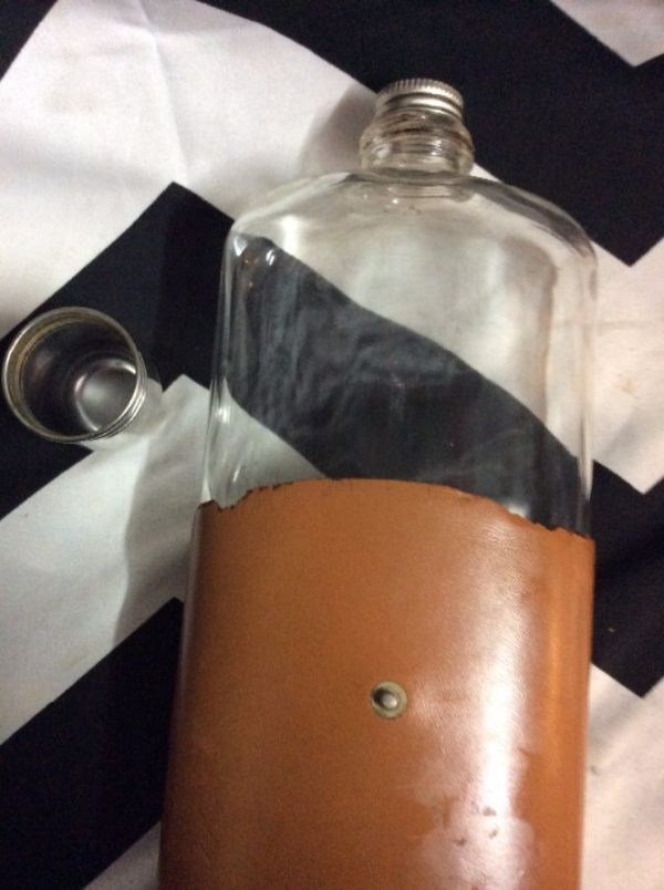 OLD FASHIONED GLASS FLASK LEATHER WRAP as-is 3