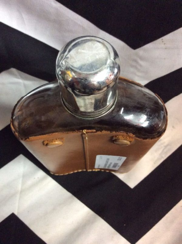OLD FASHIONED GLASS FLASK LEATHER WRAP as-is 2