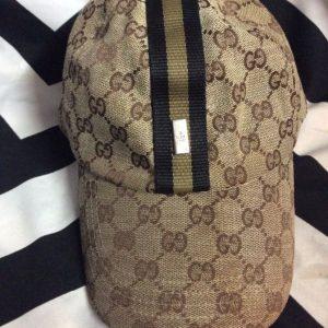 Gucc GGi jacquard pattern dad hat with stripe and metal emblem 1
