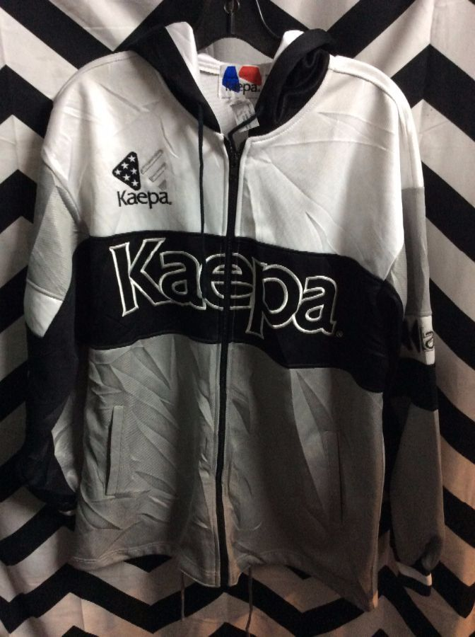 1990'S COLOR BLOCK HOODED EMBROIDERED