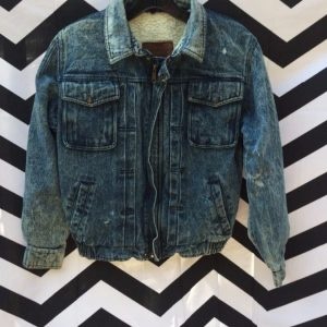 LITTLE 1980S ZIP UP ACID WASH DENIM BOMBER JACKET SHERPA LINED RARE! SMALL FIT! LEVIS!! 1