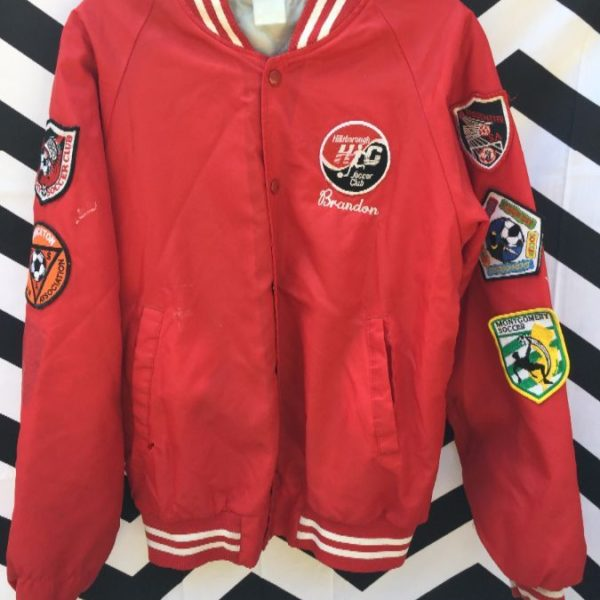 RETRO BASEBALL JACKET FULLY PATCHED SOCCER 1