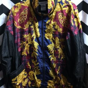Baroque Gold Orinate with Plaid pattern windbreaker 1