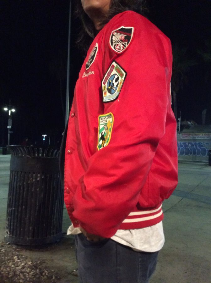 RETRO BASEBALL STYLE JACKET, HILLSBOROUGH SOCCER CLUB, COVERED W/SOCCER PATCHES 8
