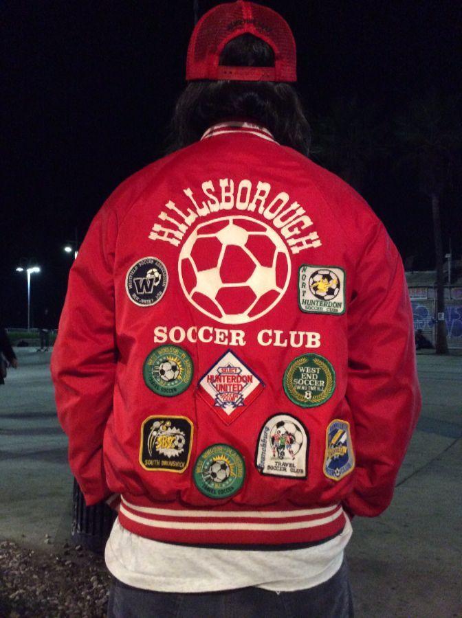 RETRO BASEBALL STYLE JACKET, HILLSBOROUGH SOCCER CLUB, COVERED W/SOCCER PATCHES 9