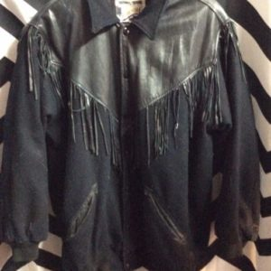 WOOL & LEATHER FRINGE BOMBER VARSITY STYLE JACKET 1