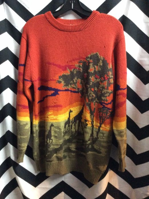 product details: PULLOVER KNIT SWEATER AFRICAN SAVANNA photo