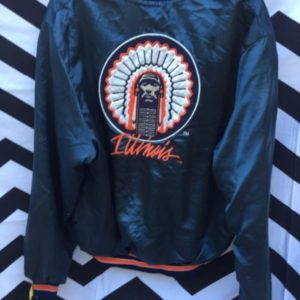 SATIN JACKET ILLINOIS EMBROIDERED FRONT AND BACK DESIGN 1