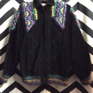 FUNKY CHECKER STITCH KNITTED SHOULDERS ARM CUFF JACKET 1