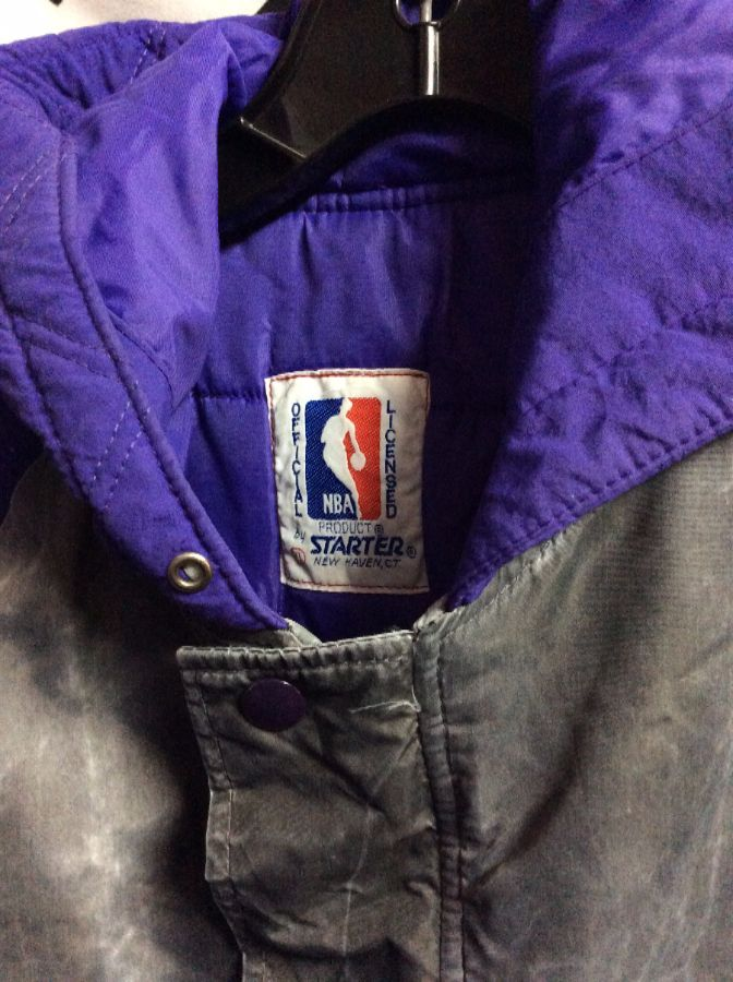 LOS ANGELES LAKERS STARTER CHARCOAL HOODED ARMS PATCHES 2