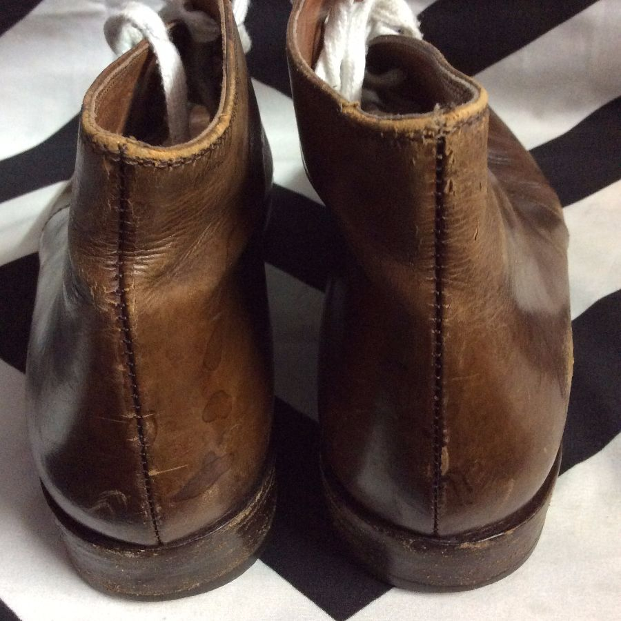 LEATHER BOOTIES SEMI ROUND TIP REGULAR SHOE LACE 2