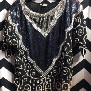 TOP BEADED SEQUIN HEART PRINT SWIRL PEARL 1