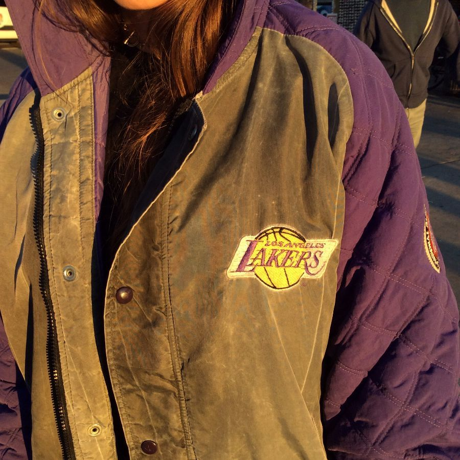 LOS ANGELES LAKERS STARTER CHARCOAL HOODED ARMS PATCHES 6