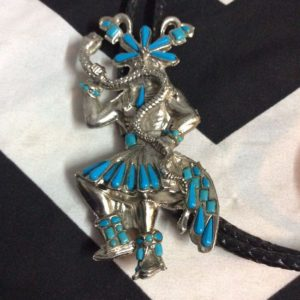 BOLO TIE DANCING AZTEC WITH SNAKE 1